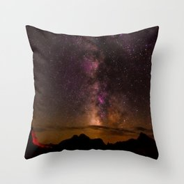 Milky Way over the Badlands South Dekota Throw Pillow