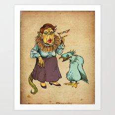 Lizard Lady and Pet Art Print