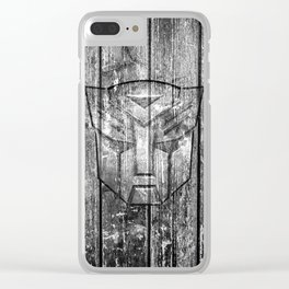 Autobot Monochrome Wood Texture Clear iPhone Case