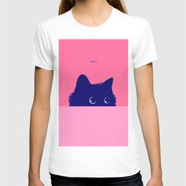 Blue Cat on Deep Pink T-shirt