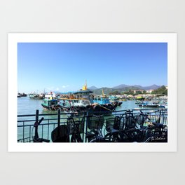 Boats and bicycles Art Print