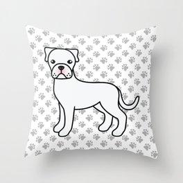 Cute White Boxer Dog Cartoon Illustration Throw Pillow