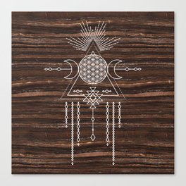 Triple Goddess - Flower of Life - Moon Phase - Shaman - Tribal - Sri Yantra - Brown Marble - Wood - Canvas Print