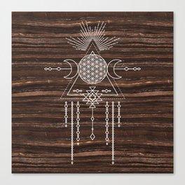 Triple Goddess - Flower of Life - Moon Phase - Shaman - Tribal - Sri Yantra - Brown Marble - Wood - Canvas Print