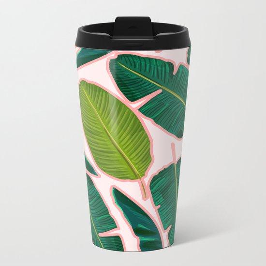 Banana Leaf Blush #society6 #decor #buyart Metal Travel Mug
