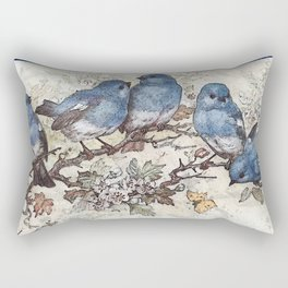 Vintage Blue Birds Rectangular Pillow