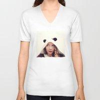 onesie V-neck T-shirts featuring Panda Onesie Nomi by Naomi Shingler