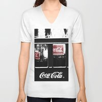 coca cola V-neck T-shirts featuring coca cola by Crimson Crazed