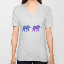 Follow The Leader - Painted Elephants in Royal Blue, Purple, & Mint Unisex V-Neck