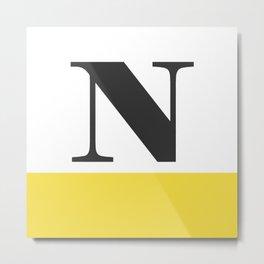 Monogram Letter N-Pantone-Buttercup Metal Print