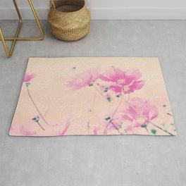 Pastel Pink Flowers mixed media art Rug
