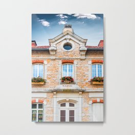 Old french town hall facade building in stone of 1889 Metal Print
