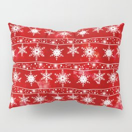 Openwork white snowflakes on red Pillow Sham