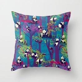 Both Species of Panda - Blue Throw Pillow