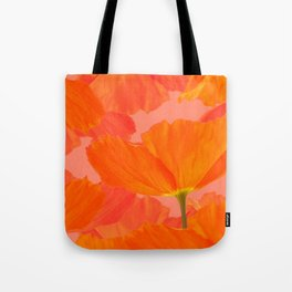Beautiful Poppies Coral Color Background #decor #society6 #buyart Tote Bag