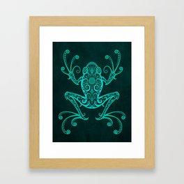 Intricate Teal Blue Tree Frog Framed Art Print