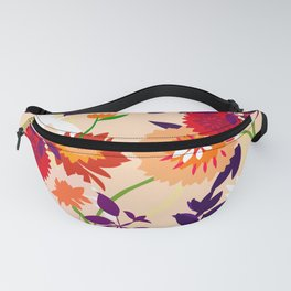 Peachy Bright pop graphic flowers on blush Fanny Pack