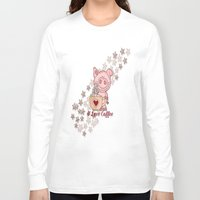piglet Long Sleeve T-shirts featuring Piglet Loves Coffee by DMiller