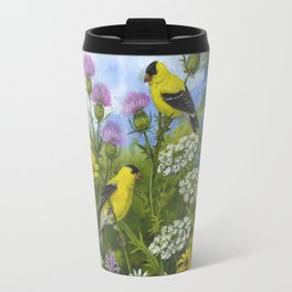 Goldfinches and Thistle Travel Mug