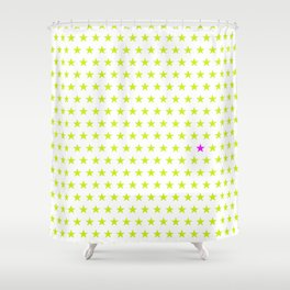 Lime green stars pattern and one single purple star Shower Curtain