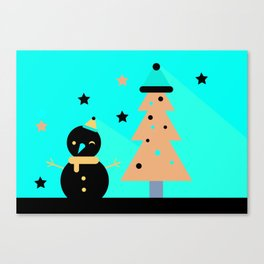 Mr Snowman & Mr Tree Canvas Print