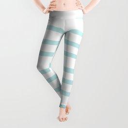 Simply Drawn Stripes Succulent Blue on White Leggings
