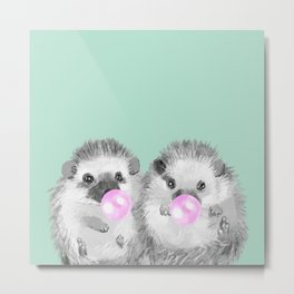 Playful Twins Hedgehog Metal Print