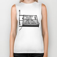 pee wee Biker Tanks featuring Pee Wee tavern sign by Vorona Photography