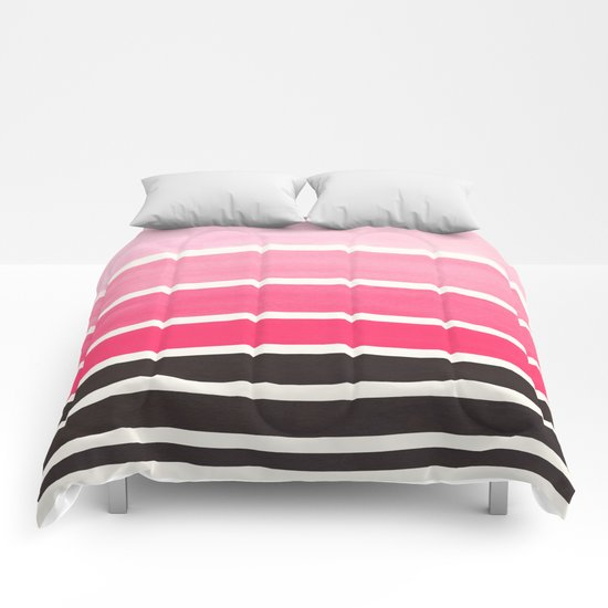 Pink minimalist watercolor mid century staggered stripes for Minimalist comforter