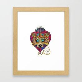 Doodling raccoon with heart Framed Art Print