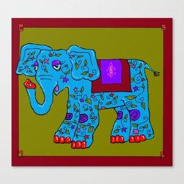 Blue Elephant with Pink Fleur de Lis Canvas Print