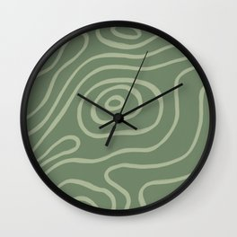Topographic Map / Grayish Green Wall Clock