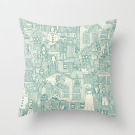 vintage halloween teal ivory Throw Pillow