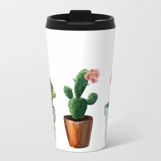 Three Cacti With Flowers On White Background Metal Travel Mug