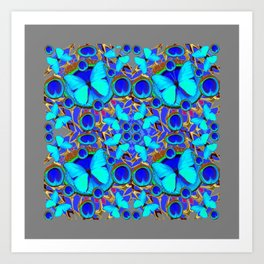 Abstract Decorative Aqua Blue Butterflies On Charcoal Grey Art Art Print