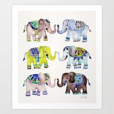 Elephant Collection – Cool Palette Art Print