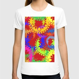 Texture of bright colorful gears and laurel wreaths in kaleidoscopic style on claret background. T-shirt