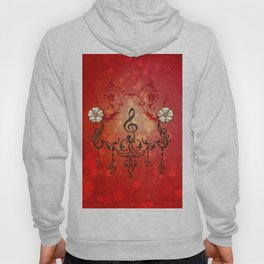 Music, clef with decorative floral elements Hoody