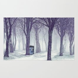 Tardis In The Snow Jungle Rug