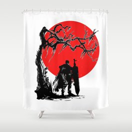 Samurai sun Shower Curtain