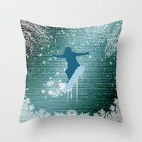 snowboarding Throw Pillows featuring Snowboarding by nicky2342