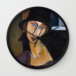 Amadeo Modigliani / Jeanne hebuterne with hat and necklace Wall Clock