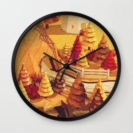 Cartoon scene in Low Poly style Wall Clock