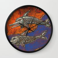 dolphins Wall Clocks featuring Dolphins by Sherdeb Akadan