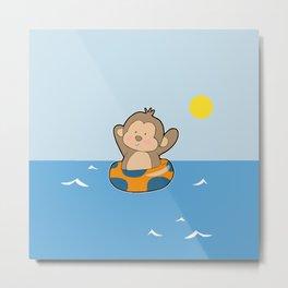 Summer Monkey Metal Print