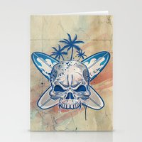 surfboard Stationery Cards featuring skull on surfboard background by Doomko