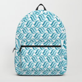 Turquoise Blue Ombré Abstract Wave Pattern Backpack