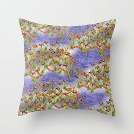 Vintage chinese floral pattern Throw Pillow