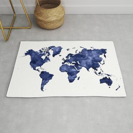 Dark navy blue watercolor world map Rug