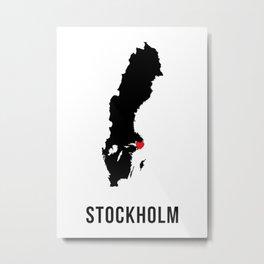 Stockholm Sweden I love Metal Print